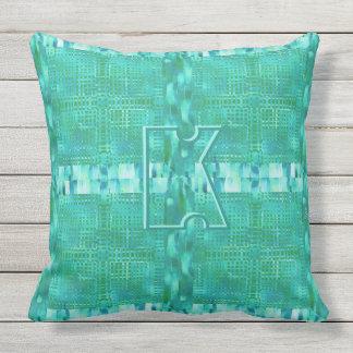 Modern Geometric Design in Aqua and Green Monogram Outdoor Cushion