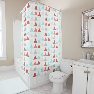 Modern Geometric Design in Aqua Rose Salmon Gray Shower Curtain