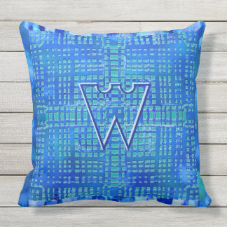 Modern Geometric Design in Blues and Teal Monogram Outdoor Cushion