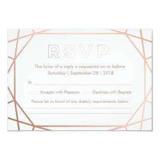 Modern Geometric Diamond Shaped Wedding RSVP Card