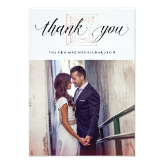 Modern Geometric Diamond Wedding Thank You Card