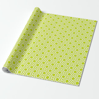 Modern Geometric Diamonds Lime Green Moroccan Wrapping Paper