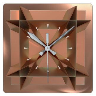 Modern Geometric Faux Copper Square Wall Clock