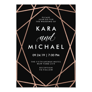Modern Geometric Faux Rose Gold on Black Wedding 13 Cm X 18 Cm Invitation Card