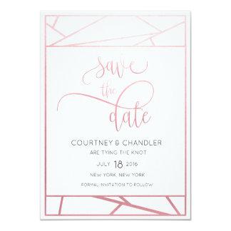 Modern Geometric Faux Rose Gold Save the Date 11 Cm X 16 Cm Invitation Card