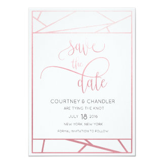 Modern Geometric Faux Rose Gold Save the Date Card
