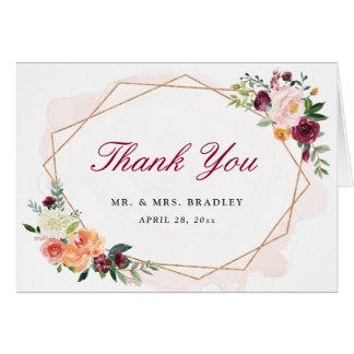 Modern Geometric Frame Chic Floral Thank You Card