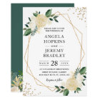 Modern Geometric Frame Nature Green Floral Wedding Card