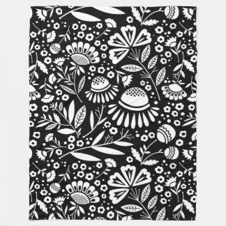 Modern Geometric Garden Floral Black and White Fleece Blanket