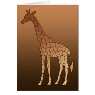 Modern Geometric Giraffe, Copper and Brown Card
