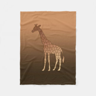 Modern Geometric Giraffe, Copper and Brown Fleece Blanket