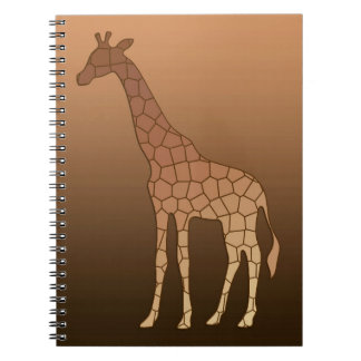 Modern Geometric Giraffe, Copper and Brown Notebook