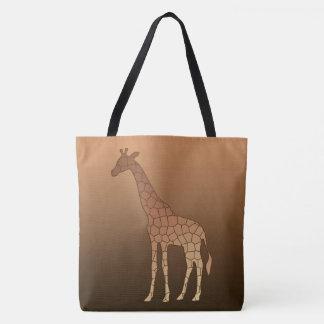 Modern Geometric Giraffe, Copper and Brown Tote Bag