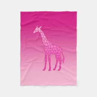 Modern Geometric Giraffe, Fuchsia and Light Pink Fleece Blanket