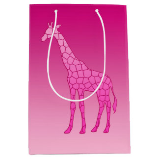Modern Geometric Giraffe, Fuchsia and Light Pink Medium Gift Bag