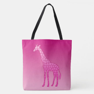 Modern Geometric Giraffe, Fuchsia and Light Pink Tote Bag
