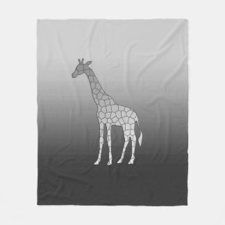 Modern Geometric Giraffe, Silver Gray / Grey Fleece Blanket