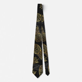 Modern geometric gold pineapples design tie