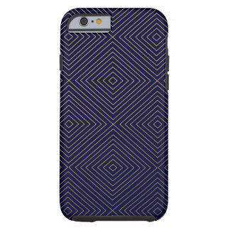 Modern Geometric Gold Squares Pattern on Navy Blue Tough iPhone 6 Case