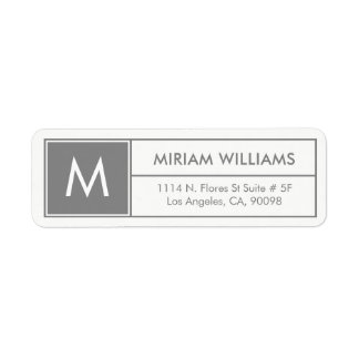 Modern Geometric Gray Frame Custom Monogram Return Address Label