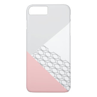 Modern Geometric Grey Coral iPhone 8 Plus/7 Plus Case