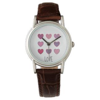 Modern Geometric Hearts Love Happy Valentines Day Watch