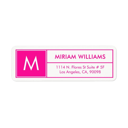 Modern Geometric Hot Pink Frame Custom Monogram Return Address Label