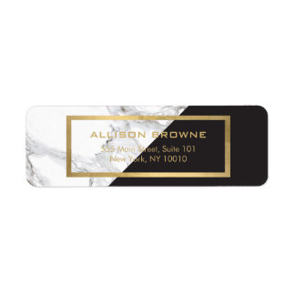 Modern Geometric Marble/Black and Faux Gold Return Address Label