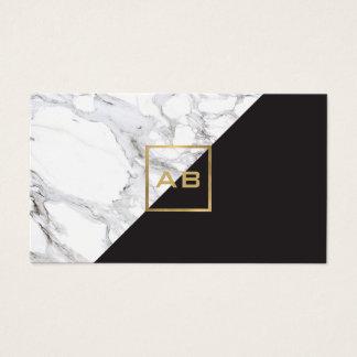 Modern Geometric Marble/Black Monogram Logo Business Card