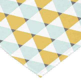 Modern Geometric Mint Yellow Triangles Pattern Short Table Runner