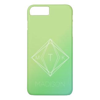 Modern Geometric Monogram   Green, Blue Gradient iPhone 8 Plus/7 Plus Case