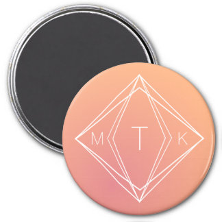 Modern Geometric Monogram | Pink, Peach Gradient Magnet
