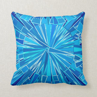 Modern Geometric Mosaic, Cobalt and Sky Blue Cushion