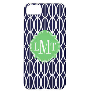 Modern Geometric Navy Blue White Pattern Monogram iPhone 5C Case