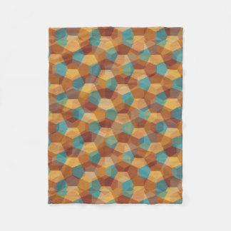 Modern Geometric Pattern In Brown Beige & Blue Fleece Blanket