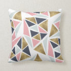Modern geometric pink navy blue gold triangles cushion