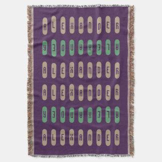 Modern Geometric Purple Cream Green Custom Name Throw Blanket