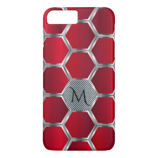 Modern Geometric Red & Silver Pattern Monogram iPhone 8 Plus/7 Plus Case