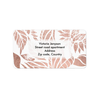 Modern geometric rose gold botanical floral address label