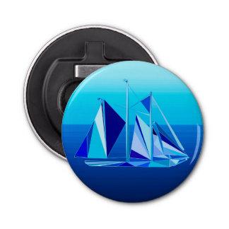 Modern Geometric Sailboat / Yacht, Cobalt Blue Bottle Opener