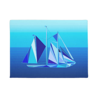Modern Geometric Sailboat / Yacht, Cobalt Blue Doormat