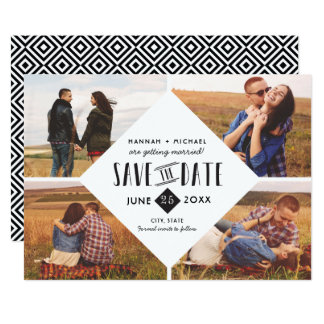 Modern Geometric Save The Date Wedding Photo Card