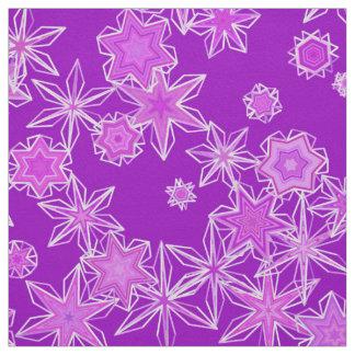 Modern Geometric Snowflakes, Amethyst Purple Fabric