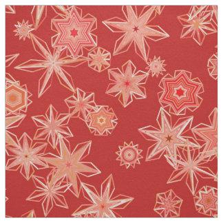 Modern Geometric Snowflakes, Mandarin Orange Fabric