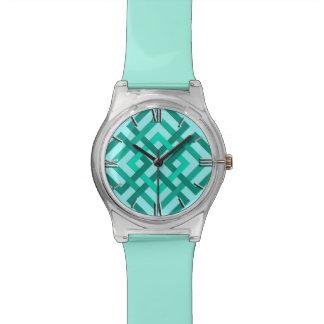 Modern Geometric Squares, Aqua and Turquoise Watch