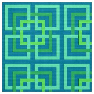 Modern Geometric Squares, Aqua, Teal, Lime Green Fabric