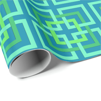 Modern Geometric Squares, Aqua, Teal, Lime Green Wrapping Paper