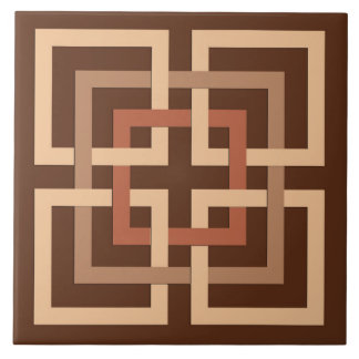 Modern Geometric Squares, Chocolate Brown and Tan Large Square Tile