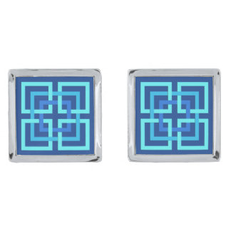 Modern Geometric Squares, Cobalt and Sky Blue Silver Finish Cufflinks