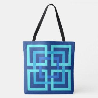 Modern Geometric Squares, Cobalt and Sky Blue Tote Bag